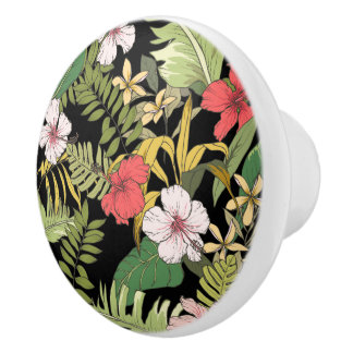 Tropical Floral On Black Background Ceramic Knob