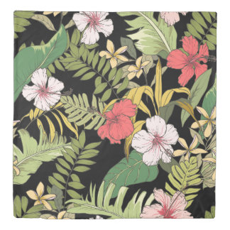 Tropical Floral On Black Duvet Cover