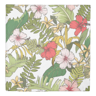 Tropical Floral On White Duvet Cover