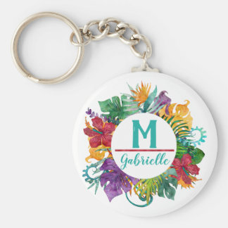 Tropical Floral Palm Wreath Monogram Initial Name Keychain