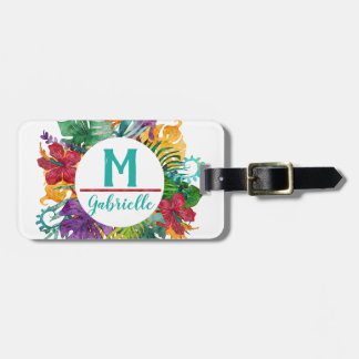 Tropical Floral Palm Wreath Monogram Initial Name Luggage Tag