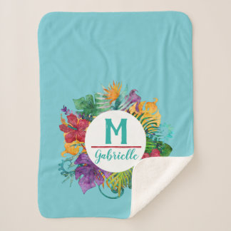 Tropical Floral Palm Wreath Monogram Initial Name Sherpa Blanket