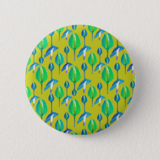 Tropical Floral Pattern 2 Inch Round Button