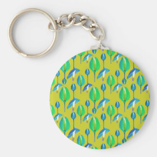 Tropical Floral Pattern Basic Round Button Keychain