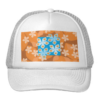 Tropical Floral Pattern. Blue and Orange. Trucker Hat