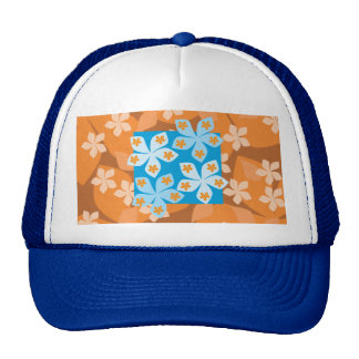 Tropical Floral Pattern. Blue and Orange. Mesh Hat