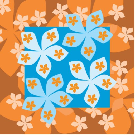 Tropical Floral Pattern. Blue and Orange. Cut Outs