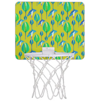 Tropical Floral Pattern Mini Basketball Hoop