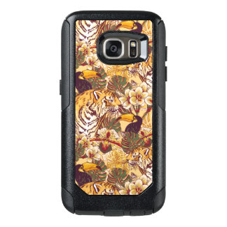 Tropical Floral Pattern With Tiger OtterBox Samsung Galaxy S7 Case