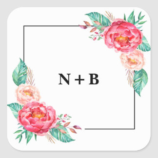 Tropical Floral Summer Wedding Invitations Square Sticker