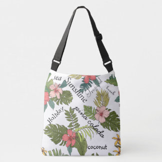 Tropical Floral Typography Crossbody Bag