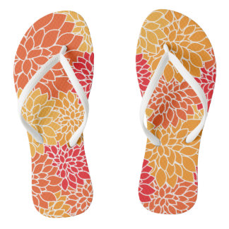 Tropical Floral vibrant yellow flower pattern Flip Flops