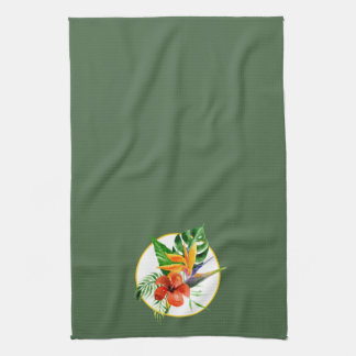 Tropical Floral Watercolor Bird of Paradise Kitchen Towel