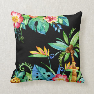 Tropical Floral Watercolor Black Throw Pillow