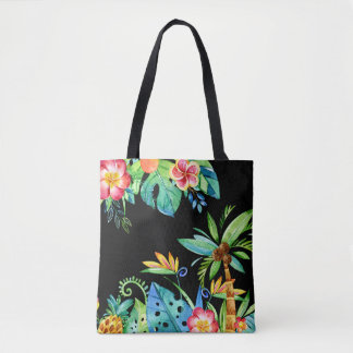 Tropical Floral Watercolor Black Tote Bag