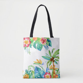 Tropical Floral Watercolor Tote Bag