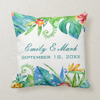 Tropical Floral  Wedding Custom Throw Pillow