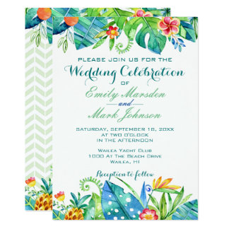 Tropical Floral Wedding Invitation