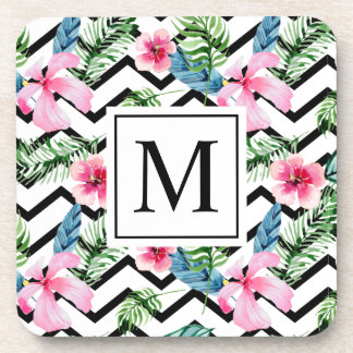 Tropical Floral Wedding Monogram | Coaster