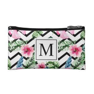 Tropical Floral Wedding Monogram | Cosmetic Bag