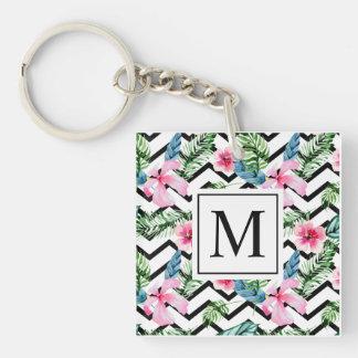Tropical Floral Wedding Monogram | Keychain