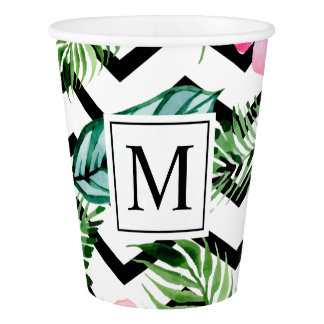 Tropical Floral Wedding Monogram | Paper Cups