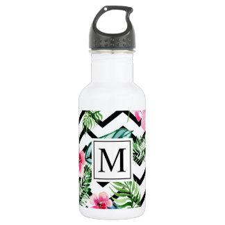 Tropical Floral Wedding Monogram | Water Bottle