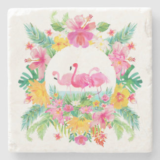 Tropical Floral Wreath & Pink Flamingos Stone Coaster