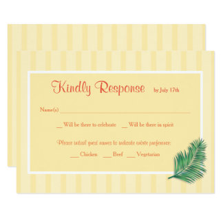 Tropical Floral Yellow Stripes Wedding RSVP Card