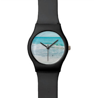 Tropical Florida Beach Sand Ocean Waves Sandpiper Wrist Watch