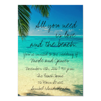 Tropical Florida Beach Wedding Invite