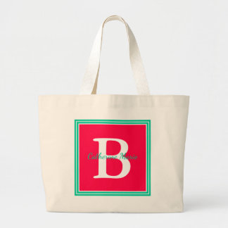 Tropical Flower and Caribbean Green Monogram Large Tote Bag
