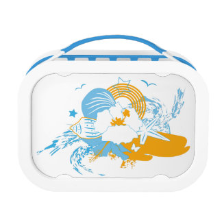 Tropical flower and seashell summer illustration lunchboxes