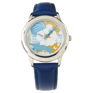 Tropical flower and seashell summer illustration wrist watches