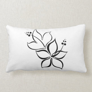 Tropical Flower Black and White pillow