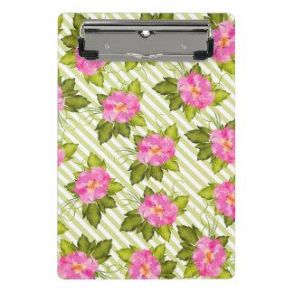 Tropical Flower Green Stripes Clipboard Mini
