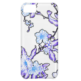 Tropical flower pattern neon blue cover for iPhone 5C