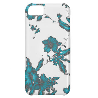 Tropical flower pattern Neon light blue look iPhone 5C Cover