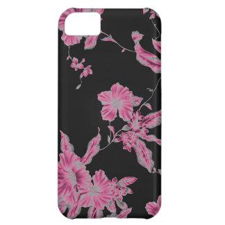 tropical flower pattern NEON pink black iPhone 5C Case