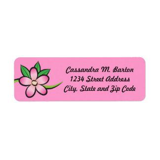Tropical Flower Pink Return Address Label