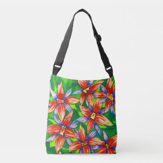 Tropical Flower Watercolour Cross Body Bag