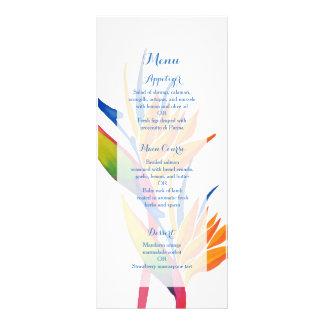 Tropical flower wedding menu
