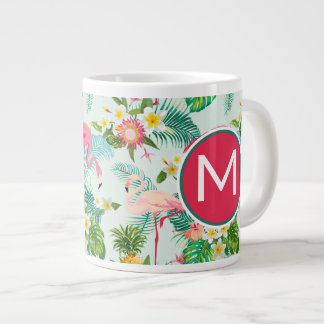 Tropical Flowers And Birds | Add Your Initial Large Coffee Mug