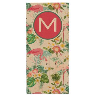 Tropical Flowers And Birds | Add Your Initial Wood USB 2.0 Flash Drive
