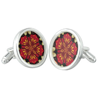 Tropical Flowers And Butterflies Mandala Cufflinks