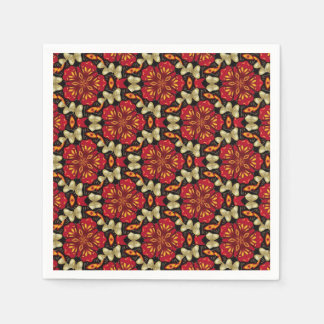 Tropical Flowers And Butterflies Mandala Disposable Napkin