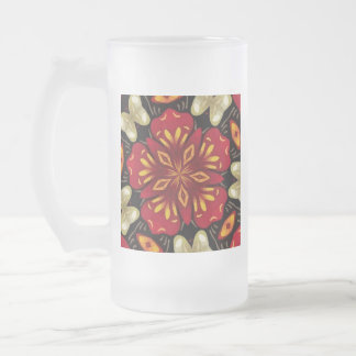 Tropical Flowers And Butterflies Mandala Frosted Glass Beer Mug