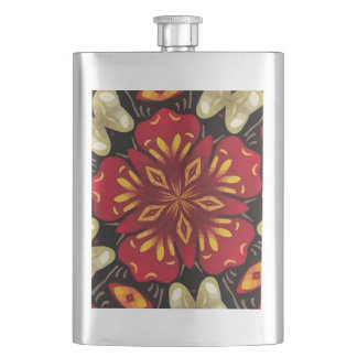 Tropical Flowers And Butterflies Mandala Hip Flask