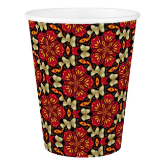 Tropical Flowers And Butterflies Mandala Paper Cup