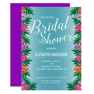 Tropical Flowers and Palm Branches Bridal Shower Card